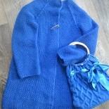 Синий кардиган (вязаный спицами)