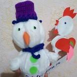 Поделка «Снеговик с петушком»