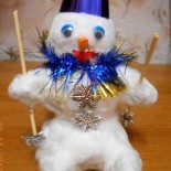 Снеговички — поделки из бумаги и лампочки