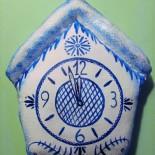 Новогодние текстильные украшения: часы и звенящая елочка