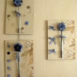 Триптих из текстильных цветов своими руками