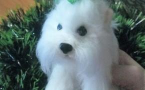 Собачка «Снежок» (сухое валяние)