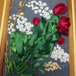 """Картина """"Весенние цветы"""", вышивка лентами"""