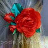 Заколка — красная роза из атласных лент